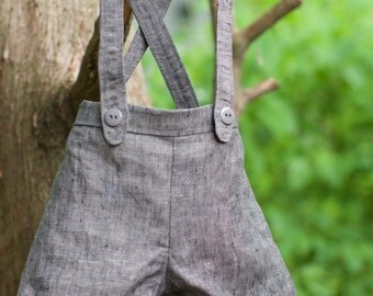Baby Boy Gray Linen Suspender Shorts