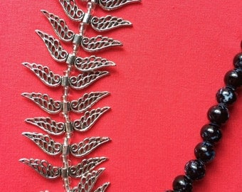 Jewelry Necklace -  black wing beaded necklace FREE SHIPPING