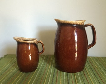 Vintage HULL Brown Drip Creamer and Milk Pitcher