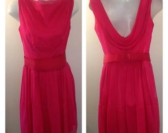 Beautiful Vintage Hot Pink Crepe Dress