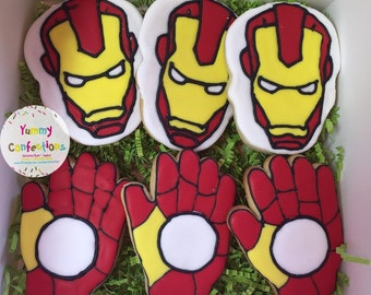 Iron Man Cookies - 1 Dozen (12 Cookies)