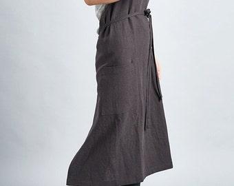 For expert full linen apron (Charcoal Grey) / Premium Linen 100% / man and women apron / long apron