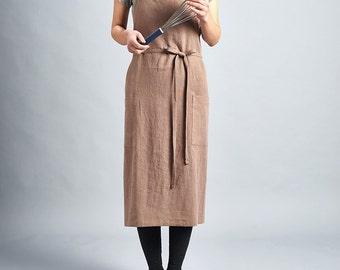 For expert full linen apron (Milk Chocolate) / Premium Linen 100% / man and women apron / long apron