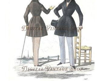 Modes de Paris 19th Century Fashion Illustration with Two Men Digital Download