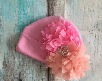 Pink Baby Girls Hospital Beanie Hat With Pink and Peach Chiffon Flowers & Silver Rhinestone  Tiara