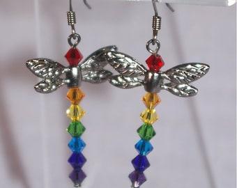 Rainbow Dragonfly earrings