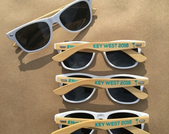 5 ADULT Personalized Sunglasses, Bamboo Wood Arms, Wedding Party Favor, Party Favor Sunglasses, Bachelor Party Favor, Bachelorette Sunglass