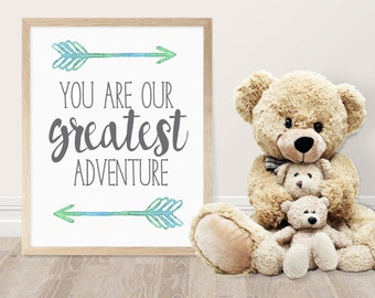 Nursery Printable - You Are Our Greatest Adventure Quote - Kids Room Decor - Nursery Decor - Woodland Theme - Baby Shower Gift  - Rustic