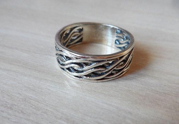 Braided Mens Ring Men's Spinner Ring 925 Sterling Silver