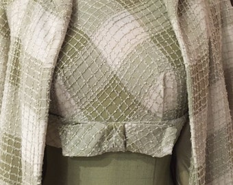 1960's Sage Green Linen And Chenille Dress and Lined Jacket