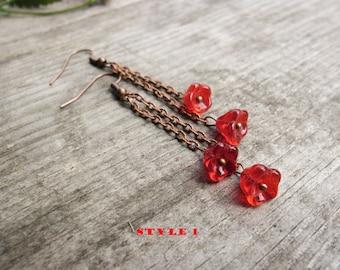long fringe earrings red flowers Floral Earrings Beaded Earrings dangle chain earrings gift for herTeen girl earrings Teen girl gift