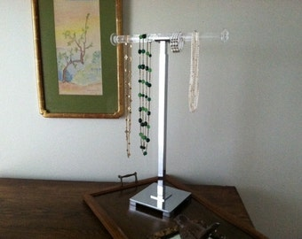 mid century modern Hollywood regency Chrome and Lucite Jewelry/display rack/tree/vintage/women