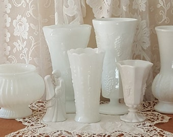 Vintage Wedding Vases~Milk Glass Vases for Weddings~Price is for One of Six Vases Each Unique and Collectable~You pick