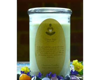 Crystal Soy Candle- Sunstone Candles Citrus Sage