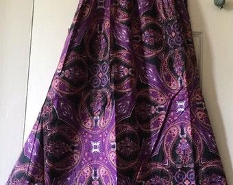 Purple Patterned Summer Dress, Maxi Dress, Cotton Dress