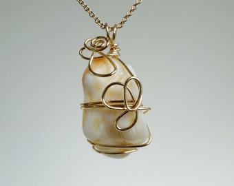 Beach Sea Tumbled Conch Shell Fragment Gold Wire Wrapped Pendant Necklace, Beach Theme, Seaside Wedding, Bridesmaid Gift, One of a Kind Gift