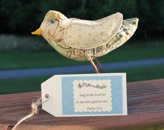 Batik Fabric Bird Sculpture