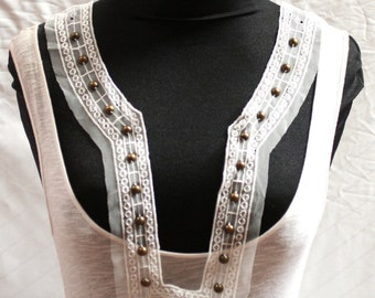White Sheer Embroidered And Beaded Fashion Collar - JR09256