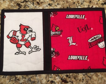 University of Louisville mug rug snack mat U of L Cardinals, Quiltsy handmade