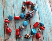 Southwest Boho Beaded Necklace, Red and Blue Beaded Necklace, Southwest Jewelry, Boho  Jewelry, Boho Necklace, Southwestern Necklace, Hippie