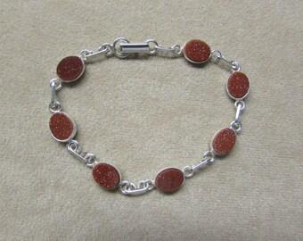 Gorgeous Aventurine Feldspar STERLING silver 7-stone bracelet.