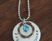 "personalized hand stamped ""I hope you dance"" necklace, birthstone necklace, graduation gift, birthday gift"