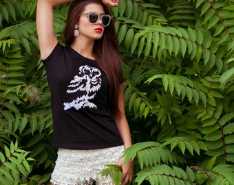 Black t-shirt with white owl lace applique - A Wise owl