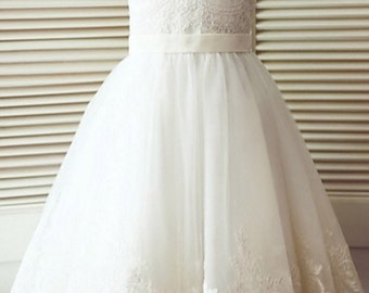 Flower girl tulle and lace dress
