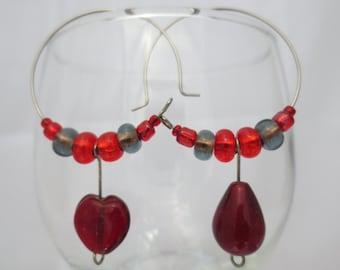 beaded hoop earrings, red