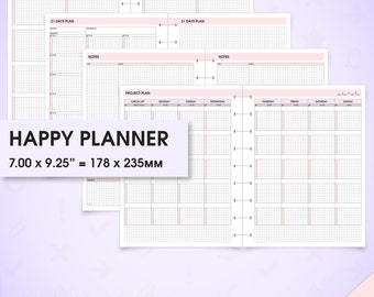 Project & habit printable happy planner inserts (project planner, goal planner, to do list, goal tracker, Cornell notes, arc planner)