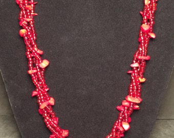 4-Stand Red Beaded Necklace