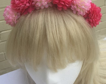 Festival Pink Flower Crown Alice Band