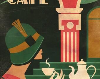 Art Deco Vintage Woman Cafe Coffee Printable Wall Art Downloadable Vintage Print