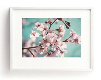 Cherry Blossom, Floral Wall Art, Pastel Wall Art, Pink Flower Print, Spring Blossom Print, Teal Wall Art, Modern Decor, Romantic Art