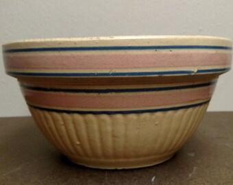 Antique yellow ware stoneware mixing bowl