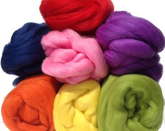 merino wool tops fibre, 7 colour rovings 250g, spinning, needle felting, wet felting, rainbow red pink orange yellow green blue purple