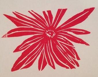 Hand Carved, Woodcut Print - Poinsettia, Mum, Zinnia, etc. Flower Print