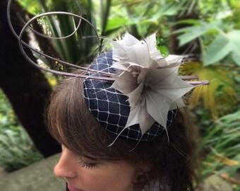 Stylish Navy & Lilac Pillbox Fascinator on Headband