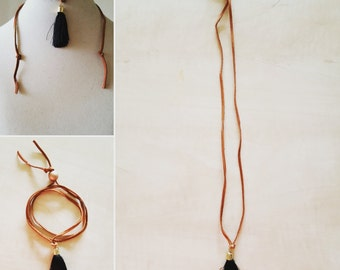 3-in-1 leather cord necklace