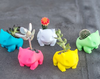 Bulbasaur Planter, bulbasaur plant pot, july 4th, Bulbasaur, Pokemon go, Pocket Animal,  3D printed, Pikachu,  Adorable, cute,  geekery