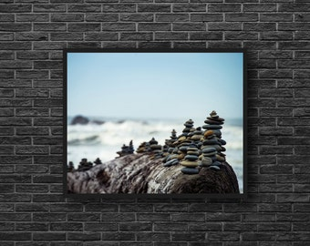 Coastal Wall Decor - Beach Photography - Coast Print - Balance Photo - Stones Photography - Zen Photo - Zen Wall Art - Feng Shui Wall Decor