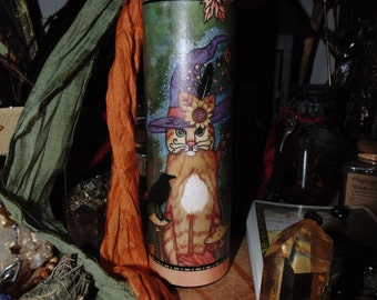 Cat Candle, Ritual Candle, Decorative Candle, Spell Candle,  Cat and the Crow Candle, Altar Candle, Seven Day Candle