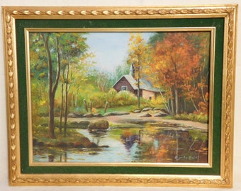 Landscape oil painting with little chapel