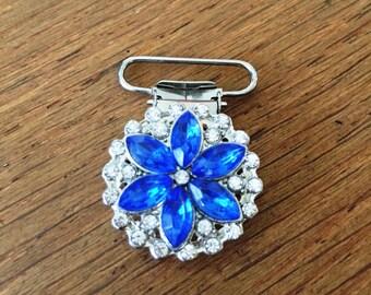 Blue Crystal Flower Irish Dancer Feis Number Holder Clip