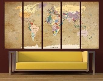 Large Push Pin World Map Canvas Print Wall Art Multi Panel World Map Wall Decor World Map Print Old World Map Poster Wall Art Map Canvas Art