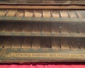 "Very RARE 1900 - 1920 antique  ""Lily Sewing Thread's"" display case"
