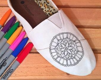 Adult Coloring Book, Coloring Book, Adult Coloring Book Shoes, Coloring Book Pages, Painted Shoes, Custom Shoes, Back to School,Unique Shoes