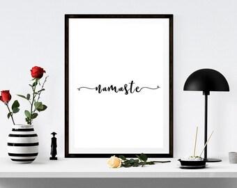 Namaste Quote Sign, Namaste Printable Art, Namaste Typography, Yoga Studio Art, Namaste Home Decor, Typography Decor, Modern Decor,