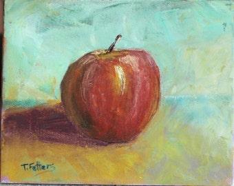 Oil still life of apple 10''x 8'' pallet knife painting