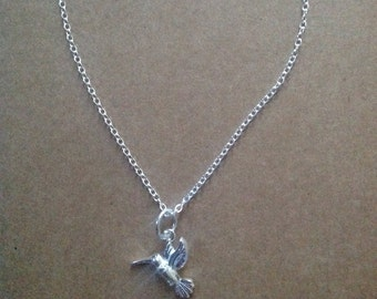 Sterling silver hummingbird charm necklace